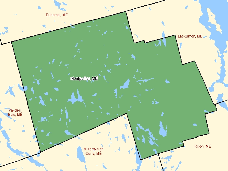 Map: Montpellier, Municipalité, Census Subdivision (shaded in green), Quebec