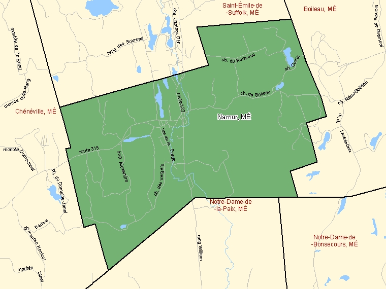 Map: Namur, Municipalité, Census Subdivision (shaded in green), Quebec
