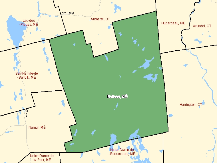 Map: Boileau, Municipalité, Census Subdivision (shaded in green), Quebec