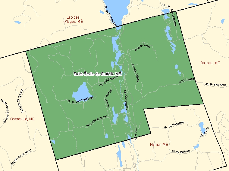 Map: Saint-Émile-de-Suffolk, Municipalité, Census Subdivision (shaded in green), Quebec