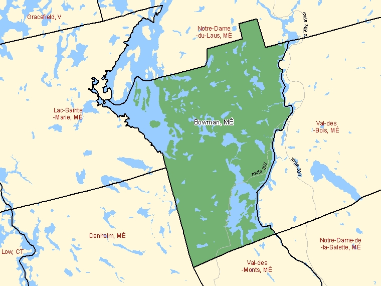 Map: Bowman, Municipalité, Census Subdivision (shaded in green), Quebec