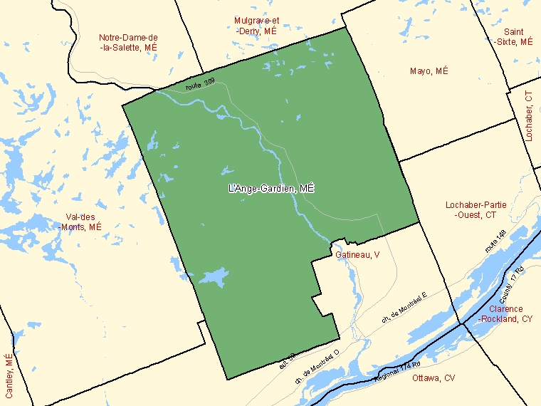 Map: L'Ange-Gardien, Municipalité, Census Subdivision (shaded in green), Quebec