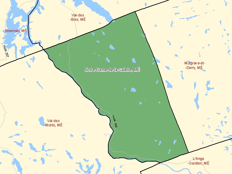 Map: Notre-Dame-de-la-Salette, Municipalité, Census Subdivision (shaded in green), Quebec