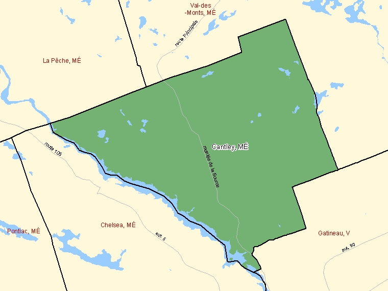 Map: Cantley, Municipalité, Census Subdivision (shaded in green), Quebec