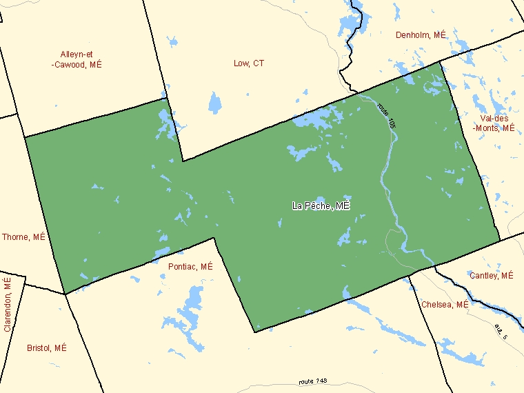 Map: La Pêche, Municipalité, Census Subdivision (shaded in green), Quebec