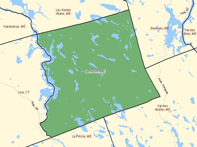 Map: Denholm, Municipalité, Census Subdivision (shaded in green), Quebec