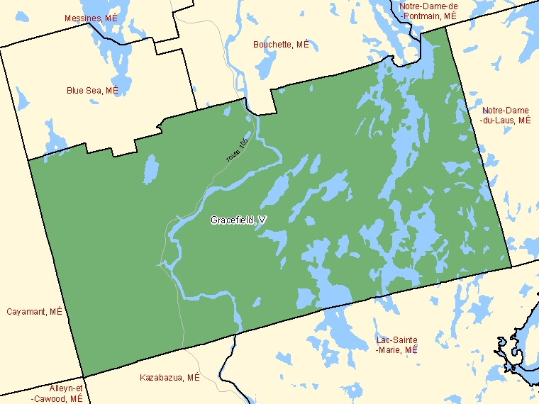 Map: Gracefield, Ville, Census Subdivision (shaded in green), Quebec