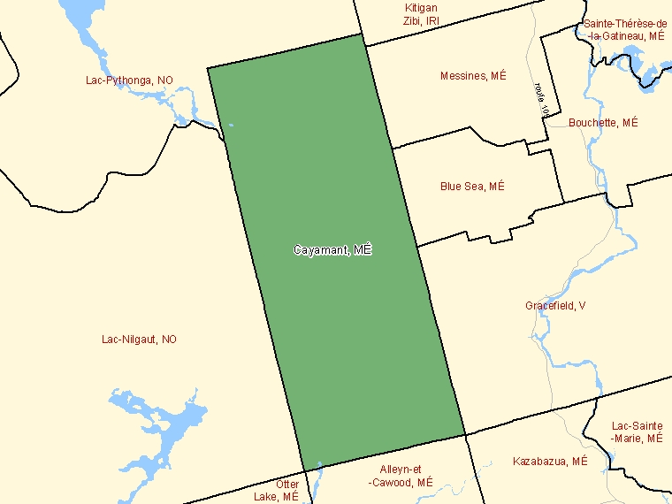Map: Cayamant, Municipalité, Census Subdivision (shaded in green), Quebec