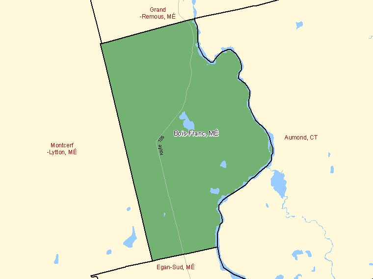 Map: Bois-Franc, Municipalité, Census Subdivision (shaded in green), Quebec