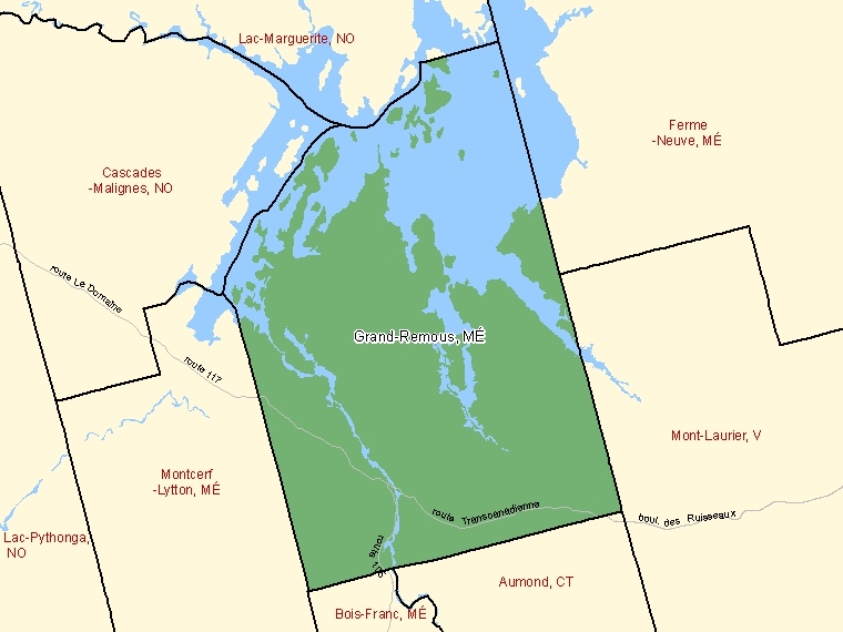Map: Grand-Remous, Municipalité, Census Subdivision (shaded in green), Quebec