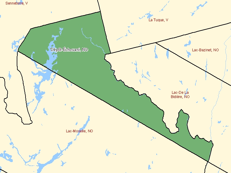 Map: Dépôt-Échouani, Unorganized, Census Subdivision (shaded in green), Quebec