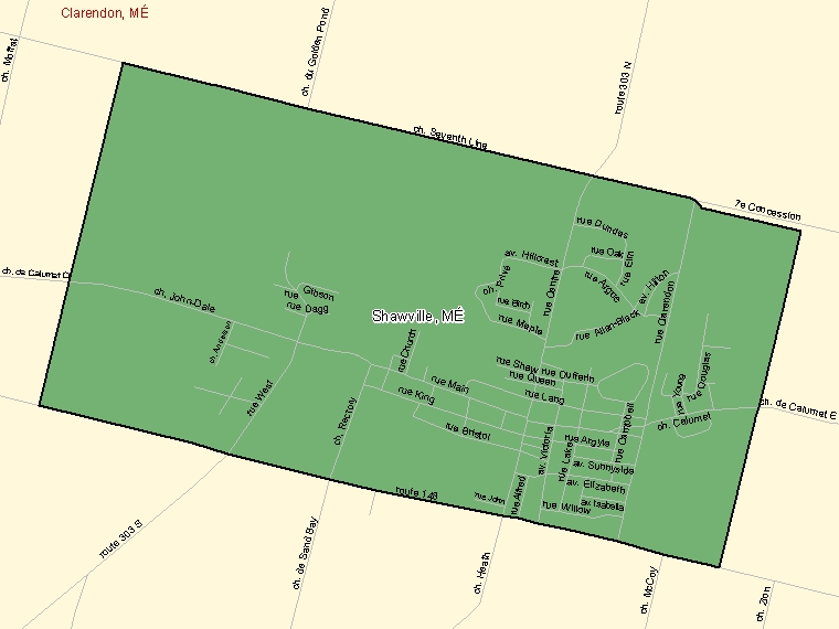 Map: Shawville, Municipalité, Census Subdivision (shaded in green), Quebec