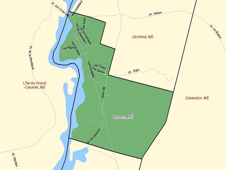 Map: Bryson, Municipalité, Census Subdivision (shaded in green), Quebec