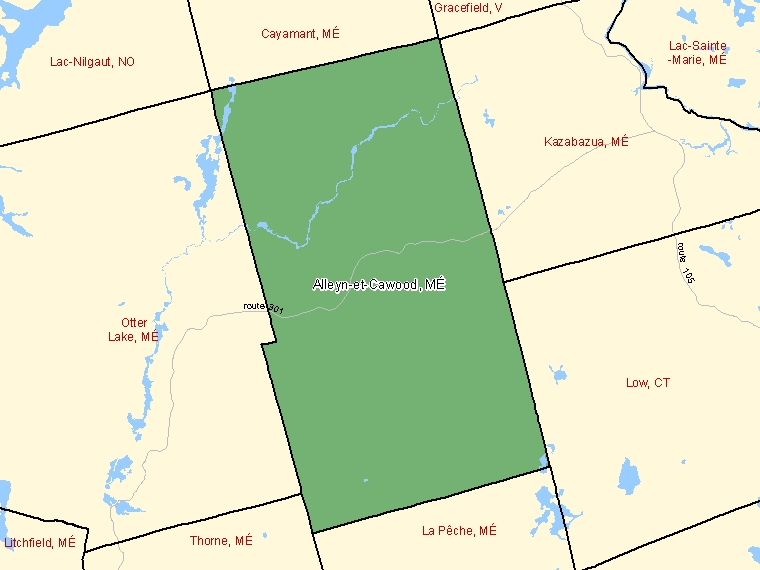 Map: Alleyn-et-Cawood, Municipalité, Census Subdivision (shaded in green), Quebec