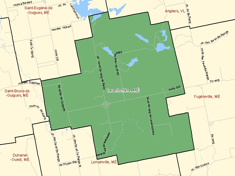 Map: Laverlochère, Municipalité, Census Subdivision (shaded in green), Quebec