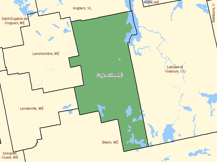 Map: Fugèreville, Municipalité, Census Subdivision (shaded in green), Quebec