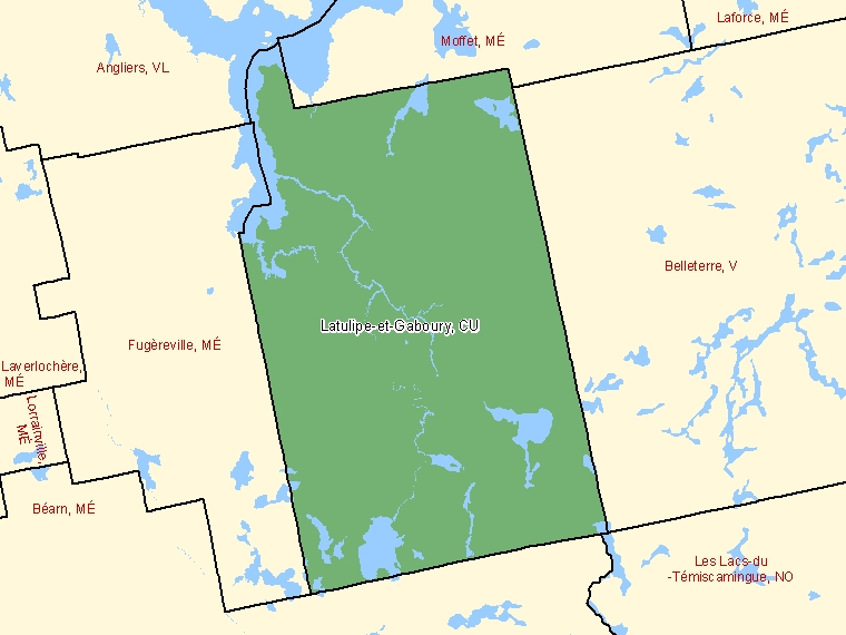 Map: Latulipe-et-Gaboury, Canton unis (municipalité de), Census Subdivision (shaded in green), Quebec