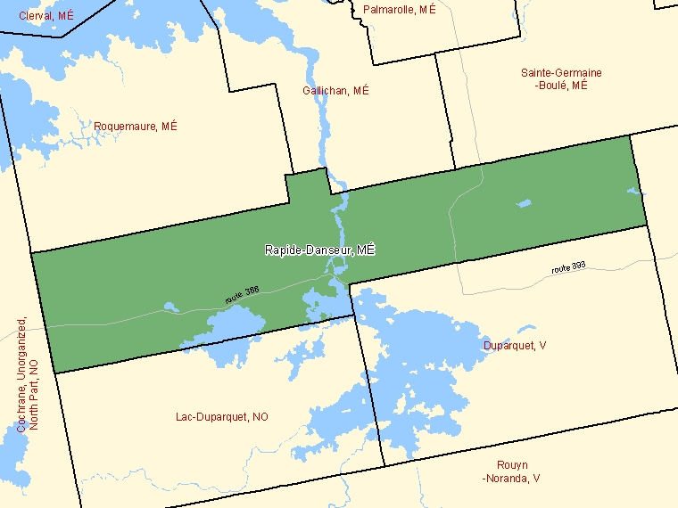 Map: Rapide-Danseur, Municipalité, Census Subdivision (shaded in green), Quebec