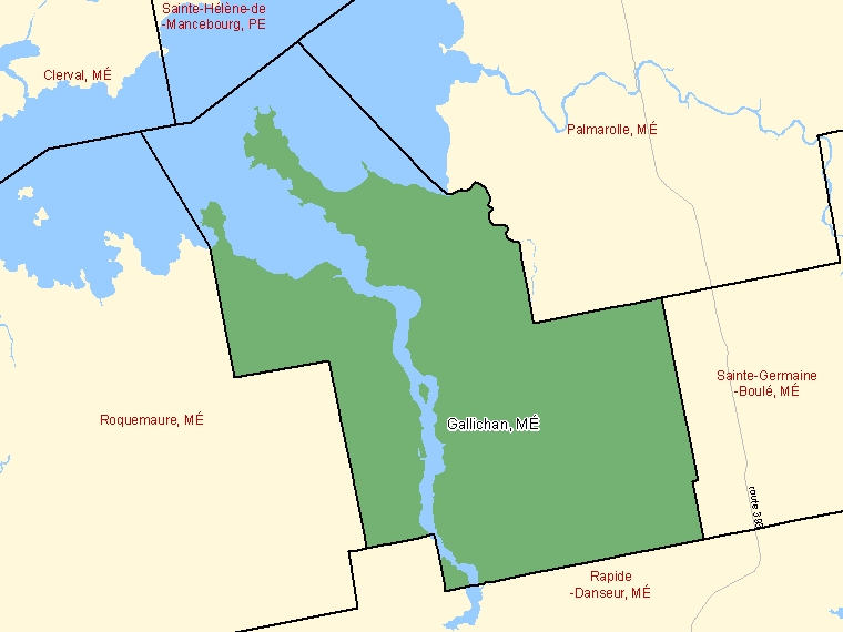 Map: Gallichan, Municipalité, Census Subdivision (shaded in green), Quebec