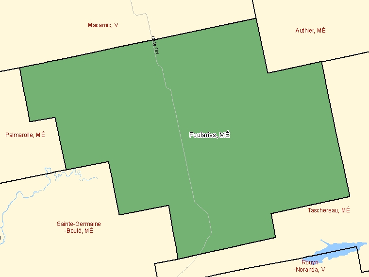 Map: Poularies, Municipalité, Census Subdivision (shaded in green), Quebec