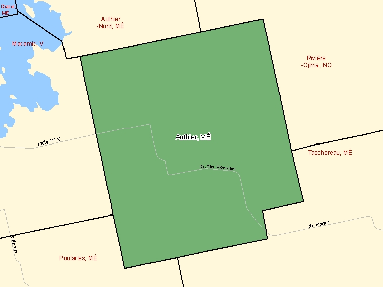 Map: Authier, Municipalité, Census Subdivision (shaded in green), Quebec