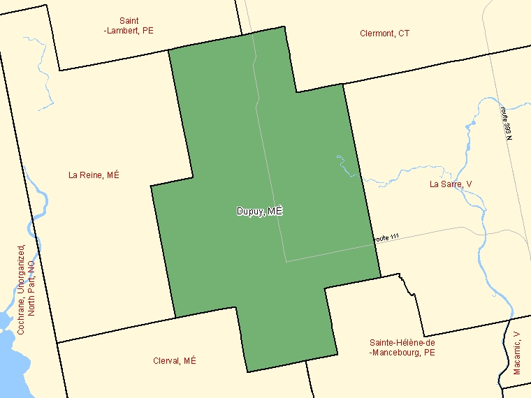 Map: Dupuy, Municipalité, Census Subdivision (shaded in green), Quebec