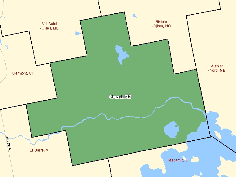 Map: Chazel, Municipalité, Census Subdivision (shaded in green), Quebec