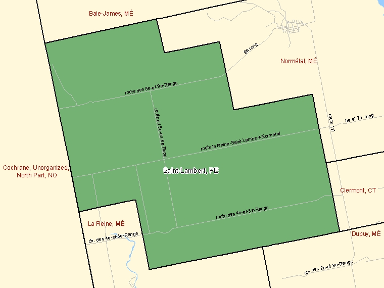 Map: Saint-Lambert, Paroisse (municipalité de), Census Subdivision (shaded in green), Quebec