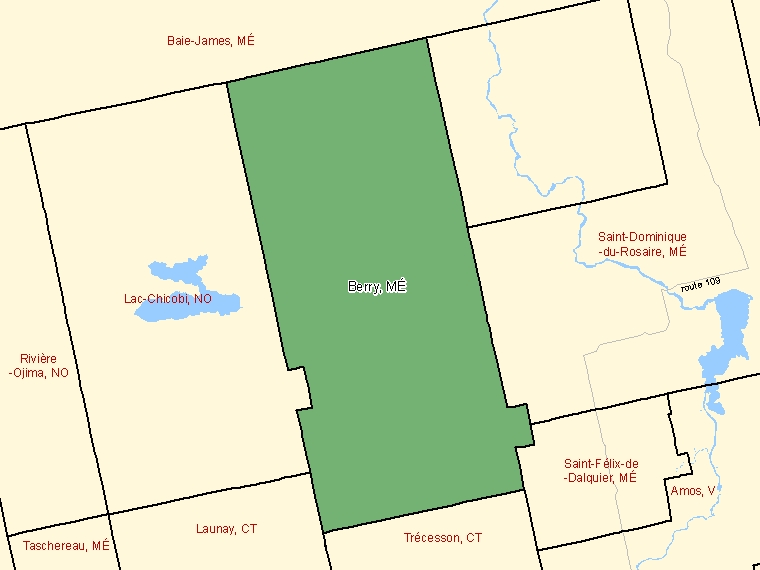 Map: Berry, Municipalité, Census Subdivision (shaded in green), Quebec
