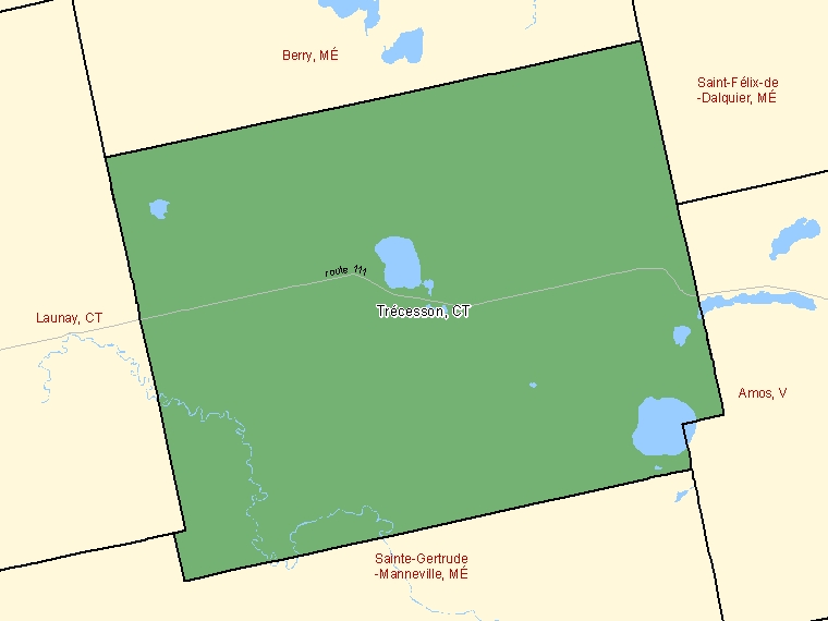 Map: Trécesson, Canton (municipalité de), Census Subdivision (shaded in green), Quebec