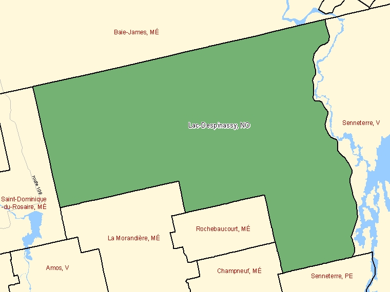 Map: Lac-Despinassy, Unorganized, Census Subdivision (shaded in green), Quebec