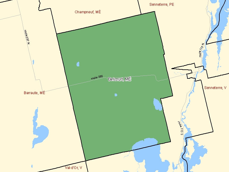 Map: Belcourt, Municipalité, Census Subdivision (shaded in green), Quebec