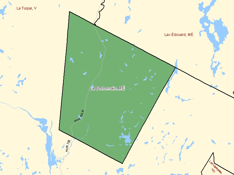Map: La Bostonnais, Municipalité, Census Subdivision (shaded in green), Quebec