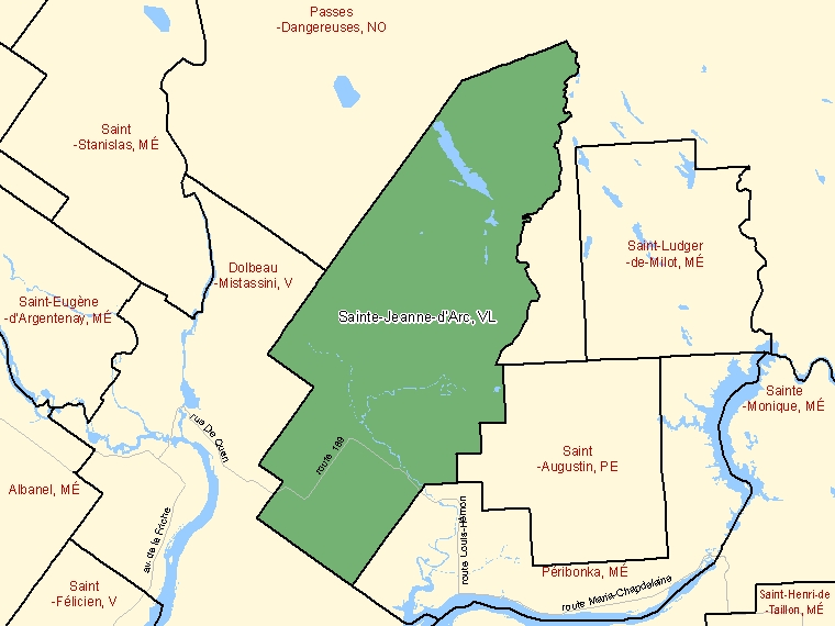 Map: Sainte-Jeanne-d'Arc, Village, Census Subdivision (shaded in green), Quebec