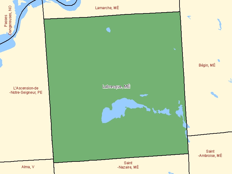 Map: Labrecque, Municipalité, Census Subdivision (shaded in green), Quebec