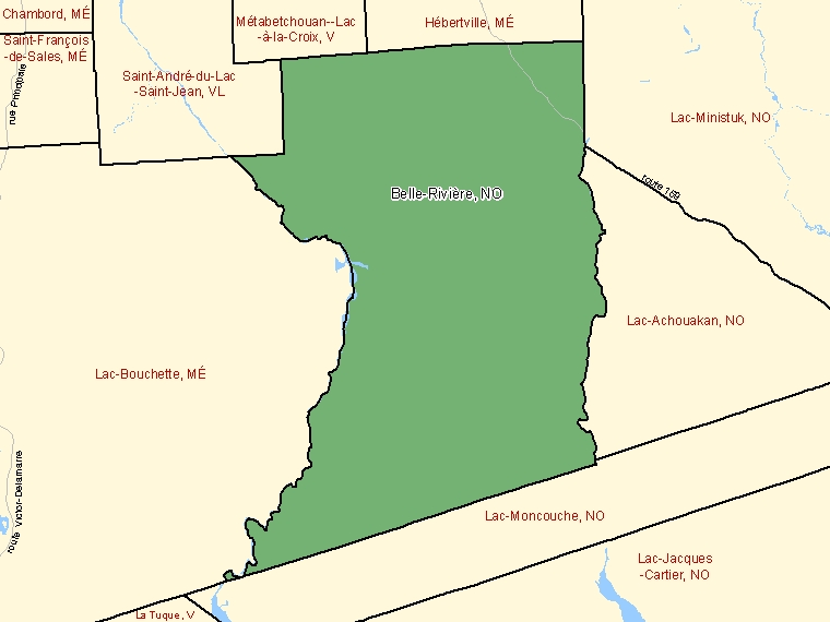 Map: Belle-Rivière, Unorganized, Census Subdivision (shaded in green), Quebec