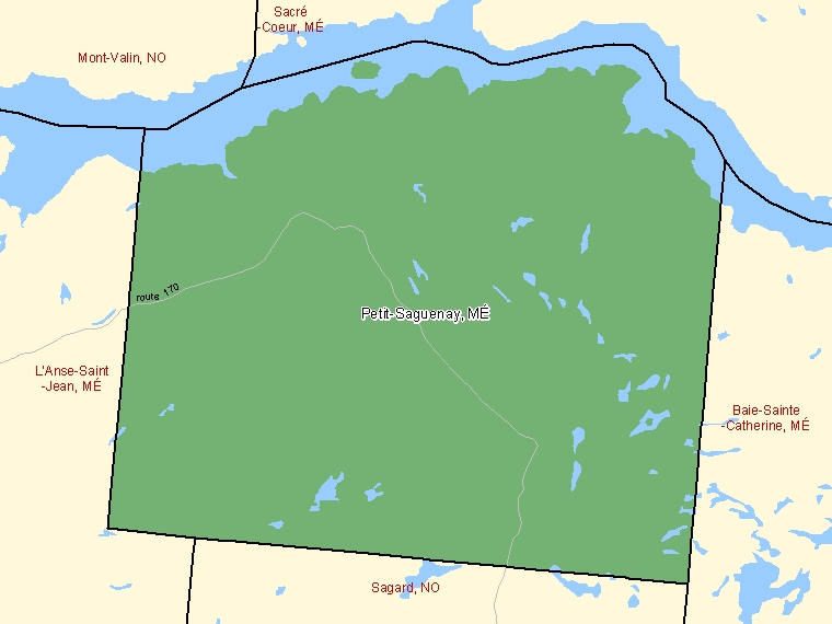 Map: Petit-Saguenay, Municipalité, Census Subdivision (shaded in green), Quebec