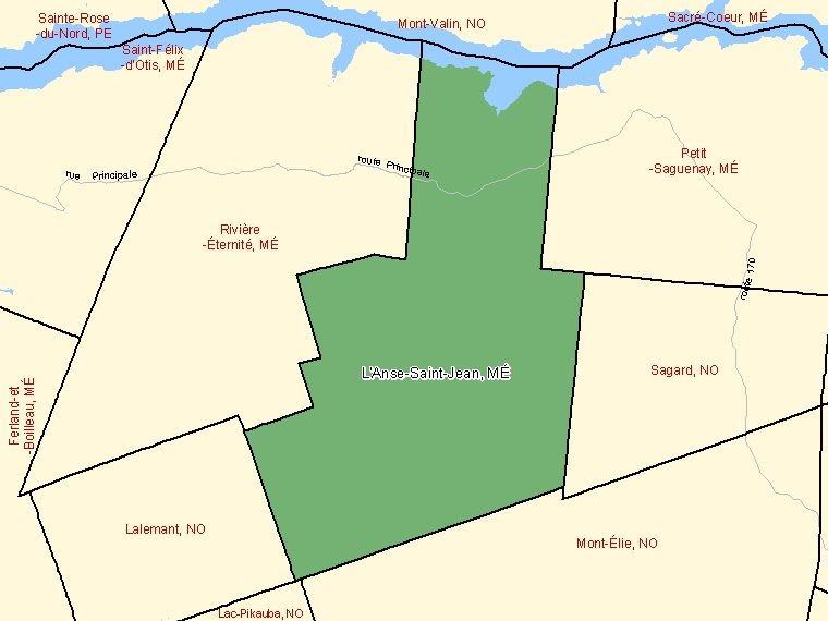 Map: L'Anse-Saint-Jean, Municipalité, Census Subdivision (shaded in green), Quebec