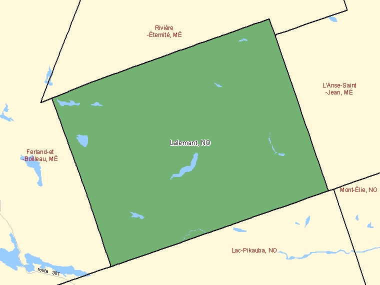 Map: Lalemant, Unorganized, Census Subdivision (shaded in green), Quebec