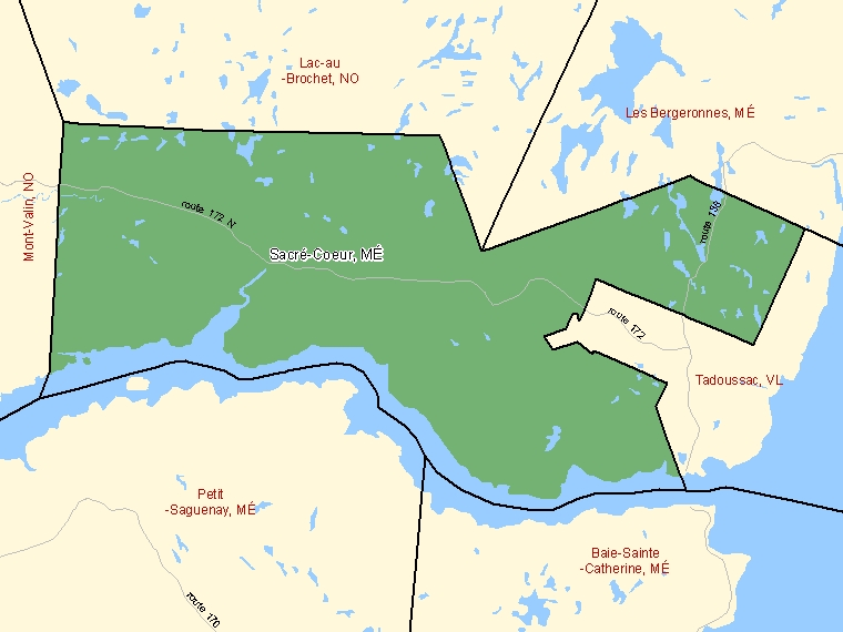 Map: Sacré-Coeur, Municipalité, Census Subdivision (shaded in green), Quebec