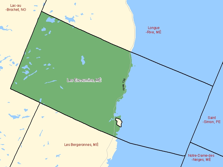 Map: Les Escoumins, Municipalité, Census Subdivision (shaded in green), Quebec