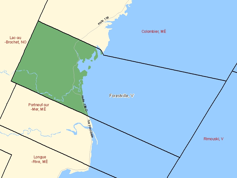 Map: Forestville, Ville, Census Subdivision (shaded in green), Quebec