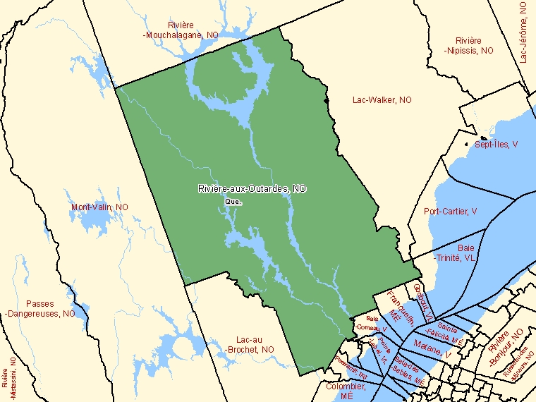 Map: Rivière-aux-Outardes, Unorganized, Census Subdivision (shaded in green), Quebec