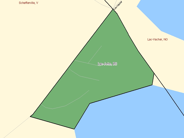 Map: Lac-John, Indian reserve, Census Subdivision (shaded in green), Quebec