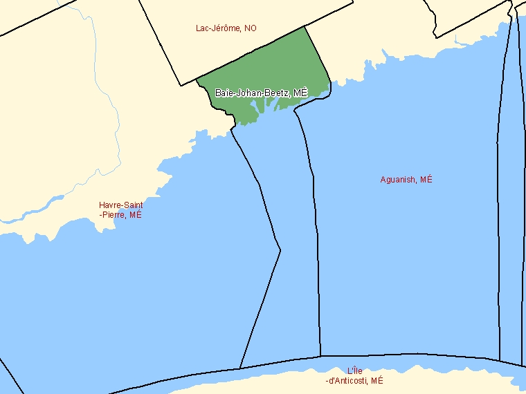 Map: Baie-Johan-Beetz, Municipalité, Census Subdivision (shaded in green), Quebec