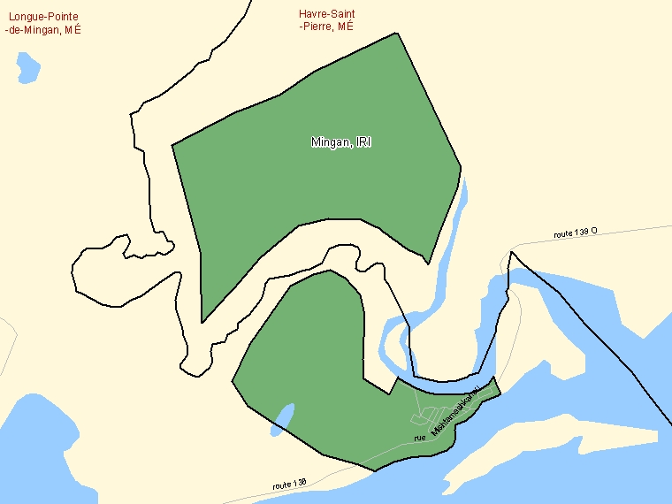 Map: Mingan, Indian reserve, Census Subdivision (shaded in green), Quebec