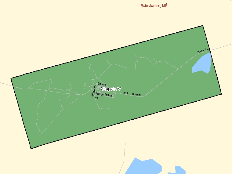 Map: Chapais, Ville, Census Subdivision (shaded in green), Quebec