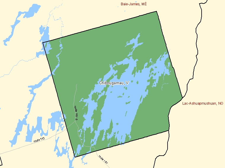 Map: Chibougamau, Ville, Census Subdivision (shaded in green), Quebec
