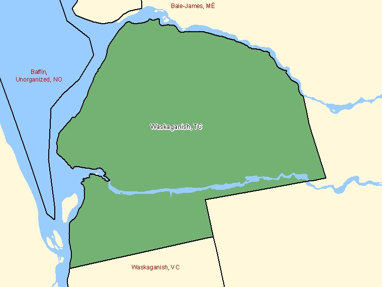 Map: Waskaganish, Terres réservées aux Cris, Census Subdivision (shaded in green), Quebec