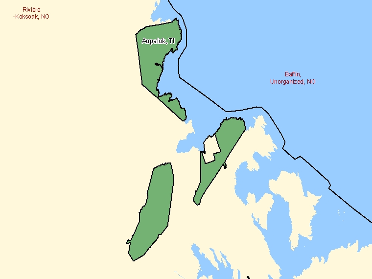 Map: Aupaluk, Terre inuite, Census Subdivision (shaded in green), Quebec